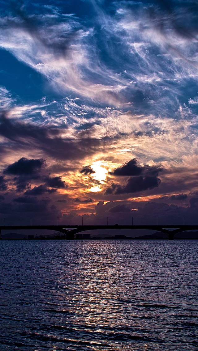 Sunrise Bridges iPhone wallpaper