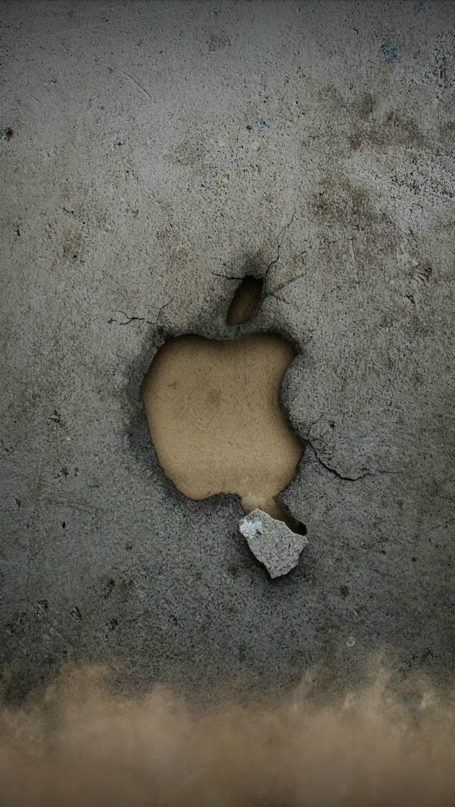 Broken Apple Wall iPhone wallpaper