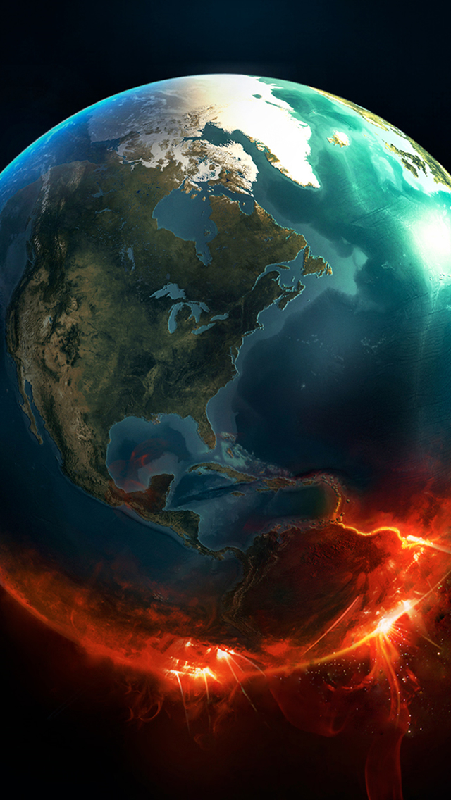 Fire Earth iPhone wallpaper