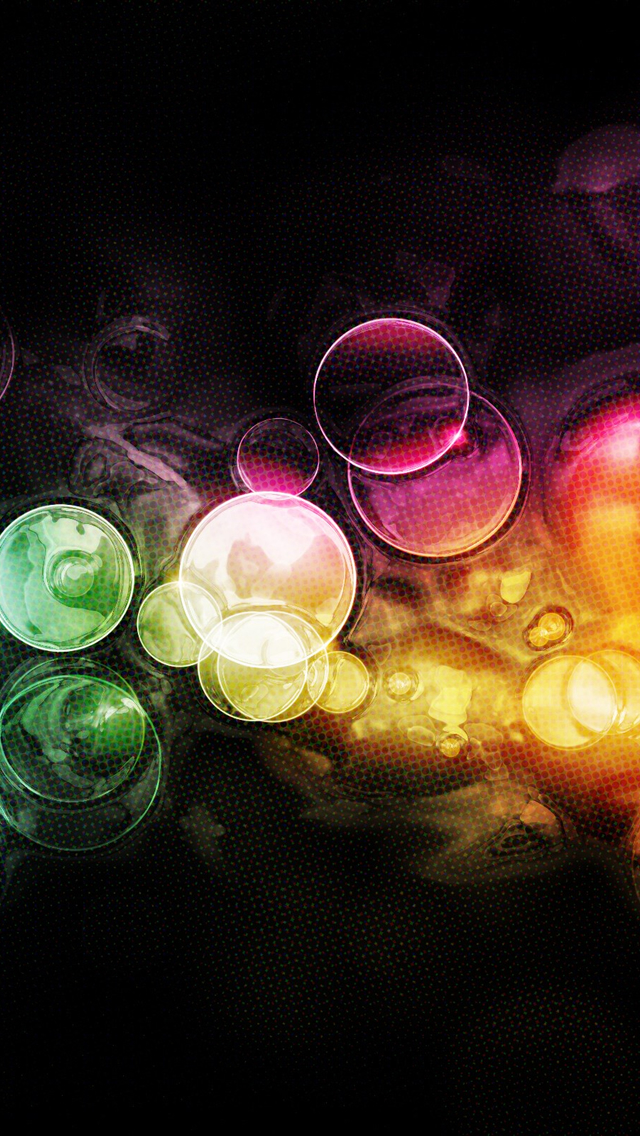 Colorful Bubbles Bokeh iPhone wallpaper