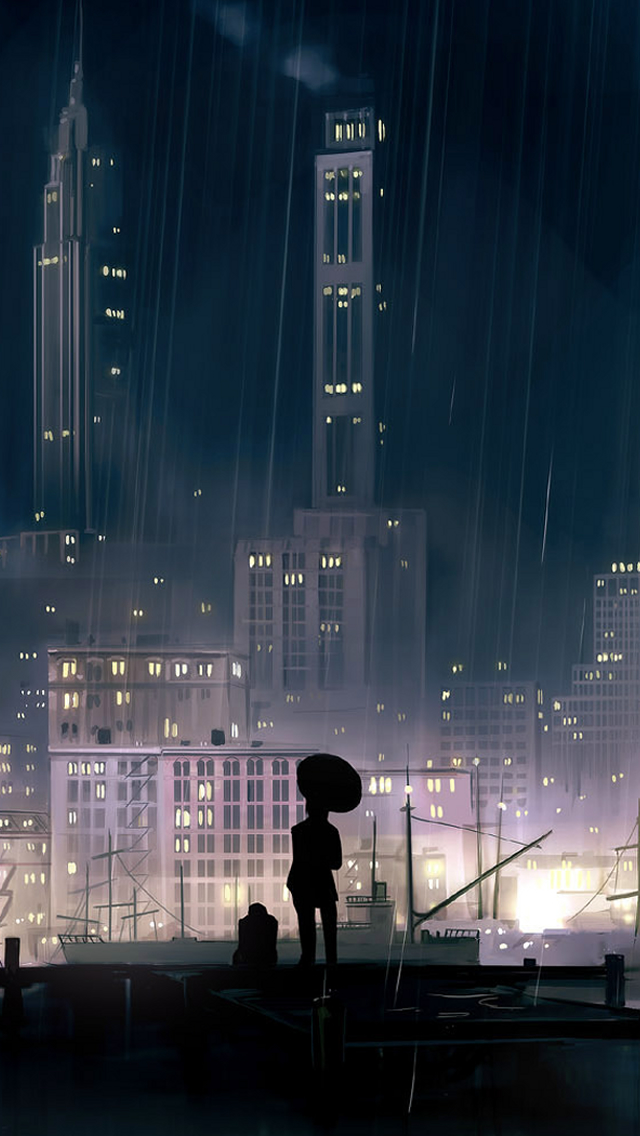 Rain Buildings iPhone wallpaper