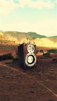 Speaker in Desert iPhone 5s wallpaper