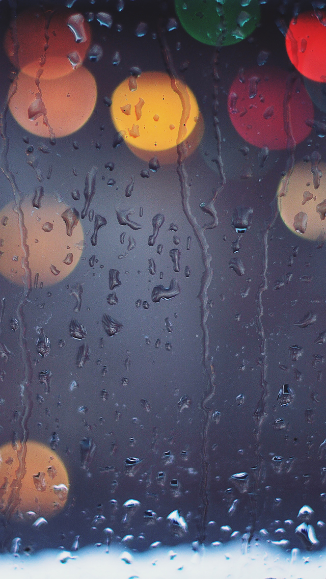 Rainy Bokeh Lights iPhone wallpaper