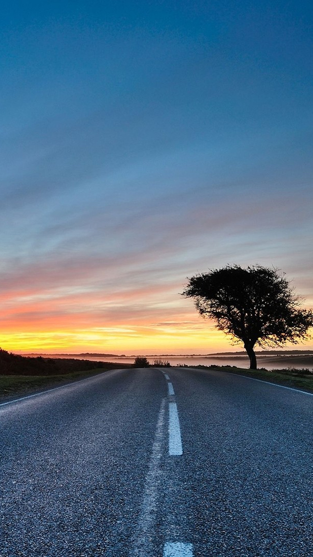 Sunset Road Iphone Wallpapers Free Download