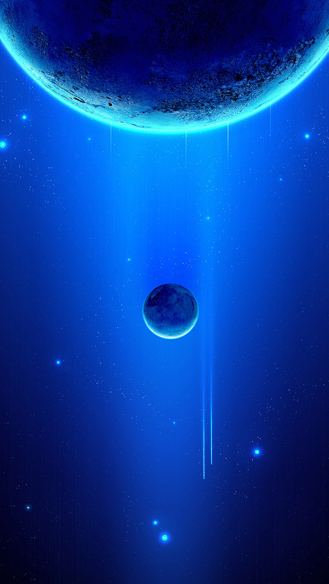 Space scene blue planets iPhone wallpaper