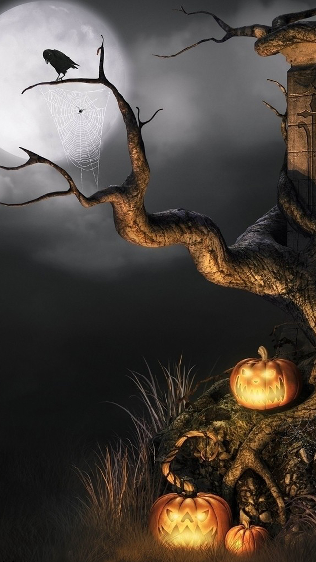 Halloween scene iPhone wallpaper