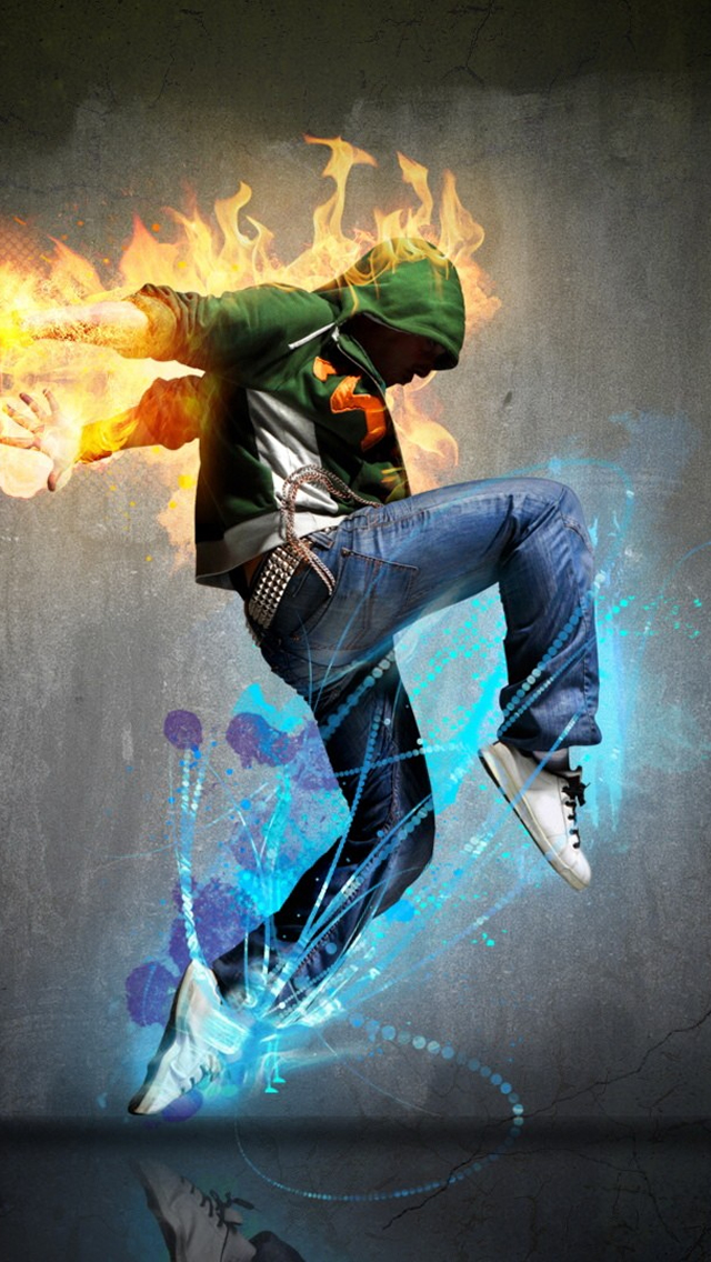 Fire Dancing Boy iPhone wallpaper
