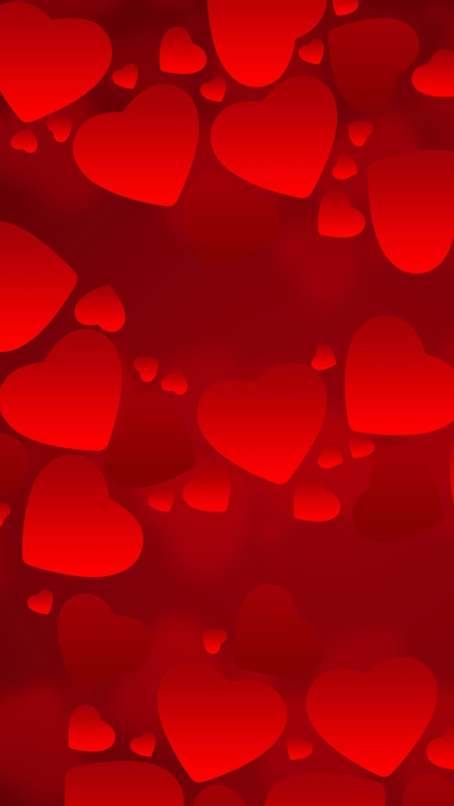Valentine's  Day Red Hearts iPhone wallpaper