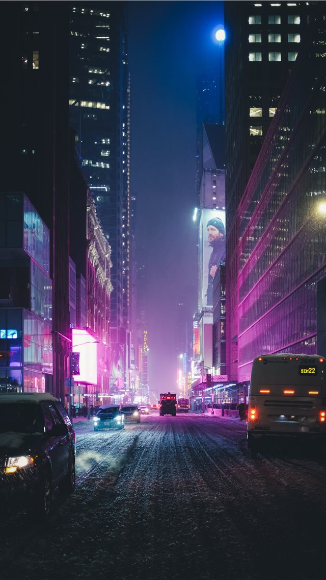 Neon New York under the Snow iPhone wallpaper