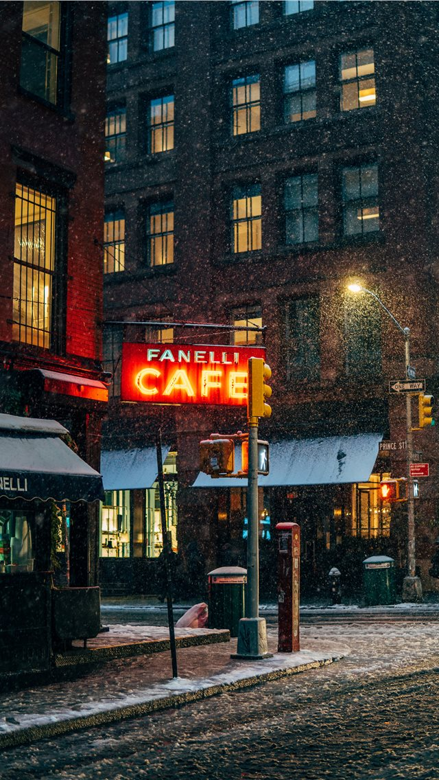 First snow in New York iPhone wallpaper