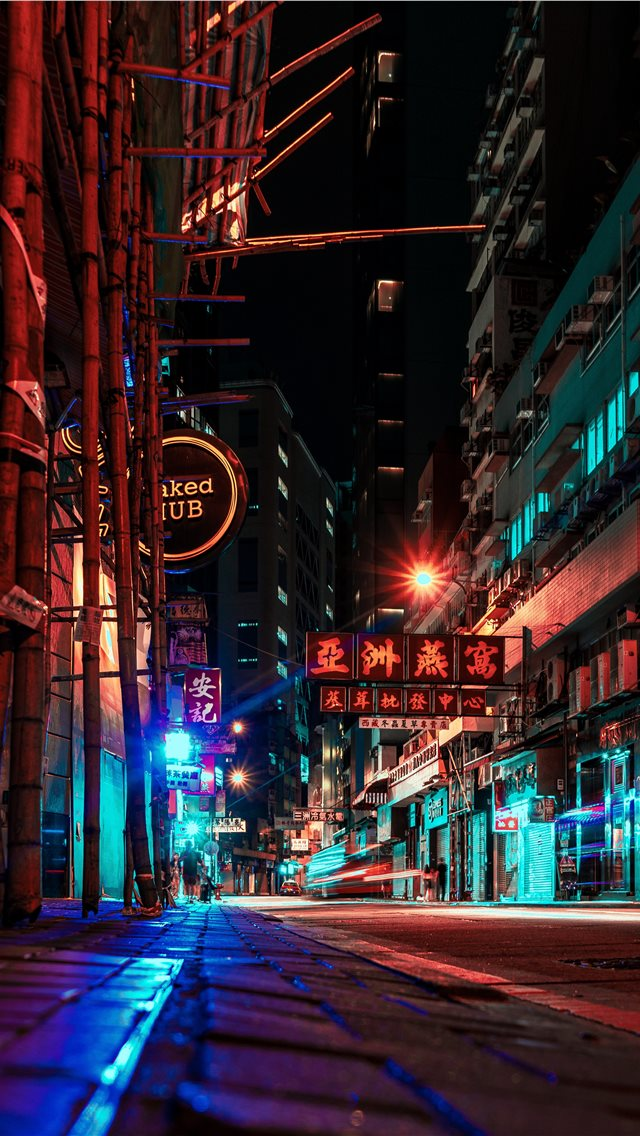 night in Hong Kong iPhone wallpaper