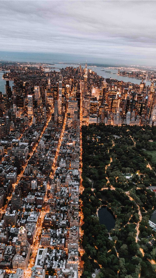 Aerial of Central Park and New York City iPhone wallpaper