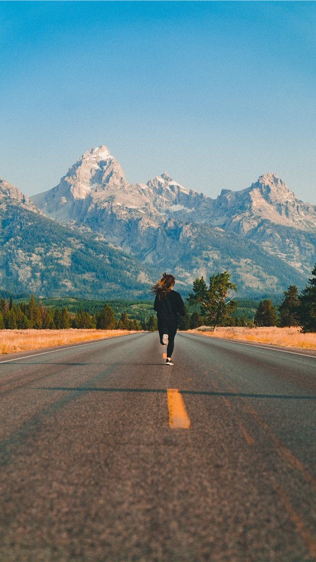 Running to the mountains  iPhone wallpaper