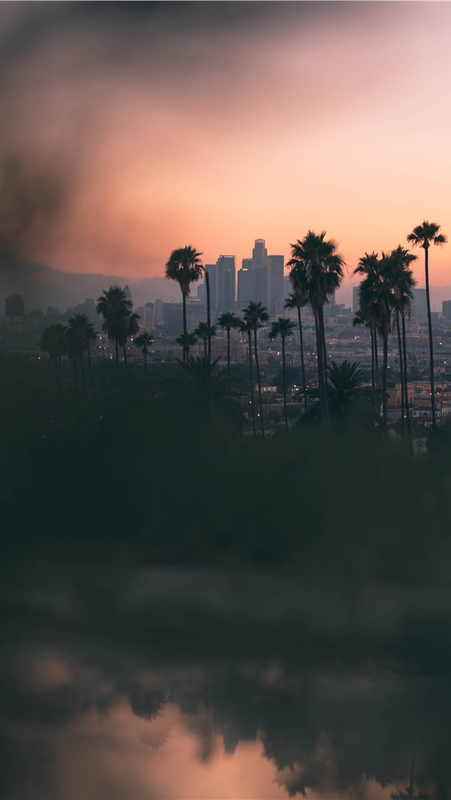 Hazy sunset in East Los Angeles  from Montecito He... iPhone wallpaper