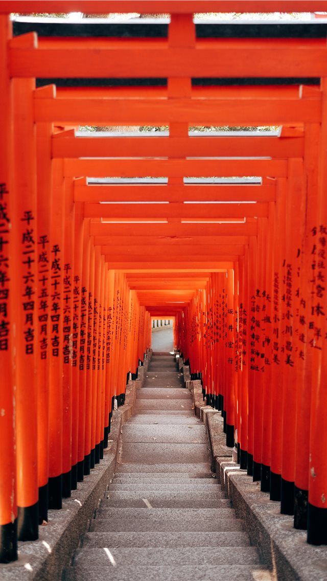 Tokyo city  geometric gates in vibrant orange colo... iPhone wallpaper