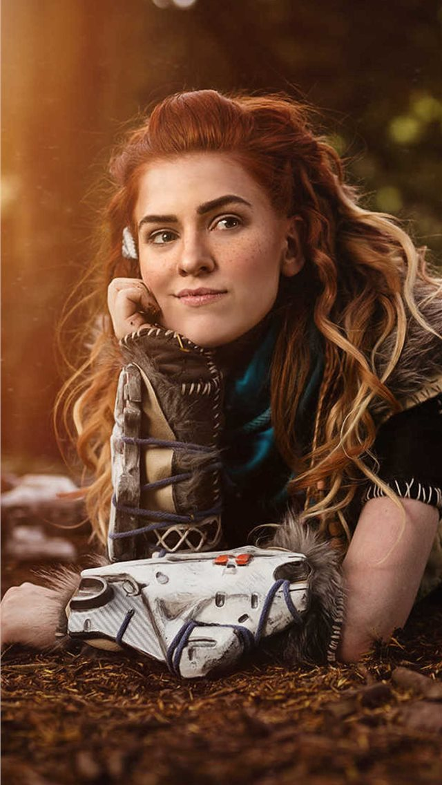 aloy from horizon zero dawn cosplay iPhone wallpaper
