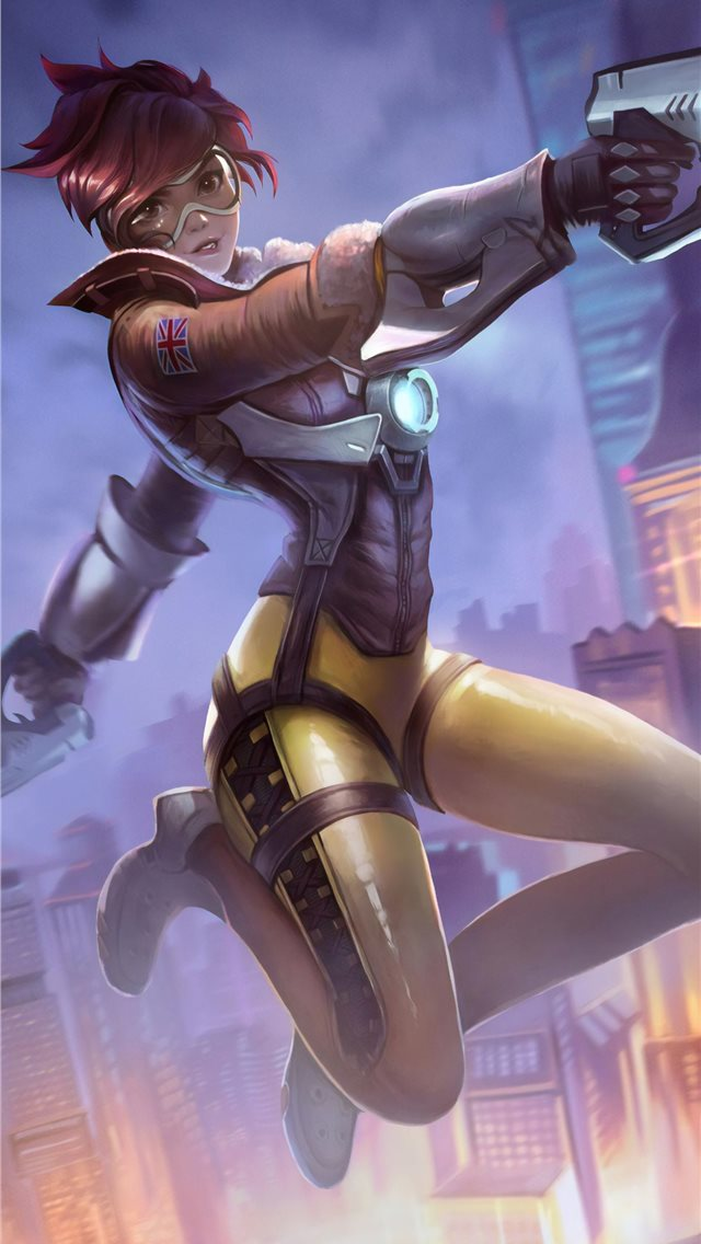 tracer overwatch art 4k iPhone wallpaper