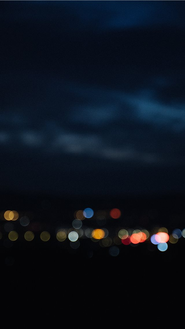 night view of a small town iPhone wallpaper