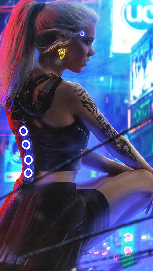 cyberpunk neon girl 4k iPhone wallpaper