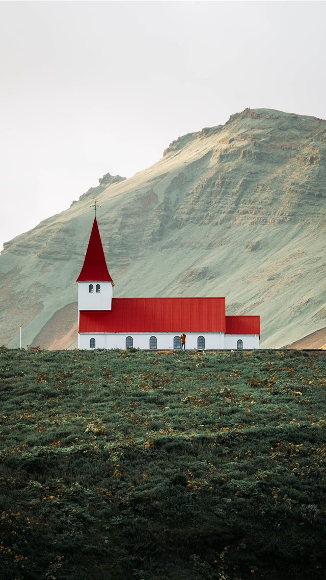 Beautiful Church in Vik  Iceland iPhone wallpaper