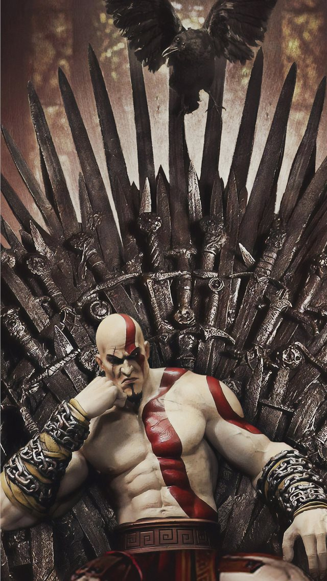 kratos on thrones iPhone wallpaper