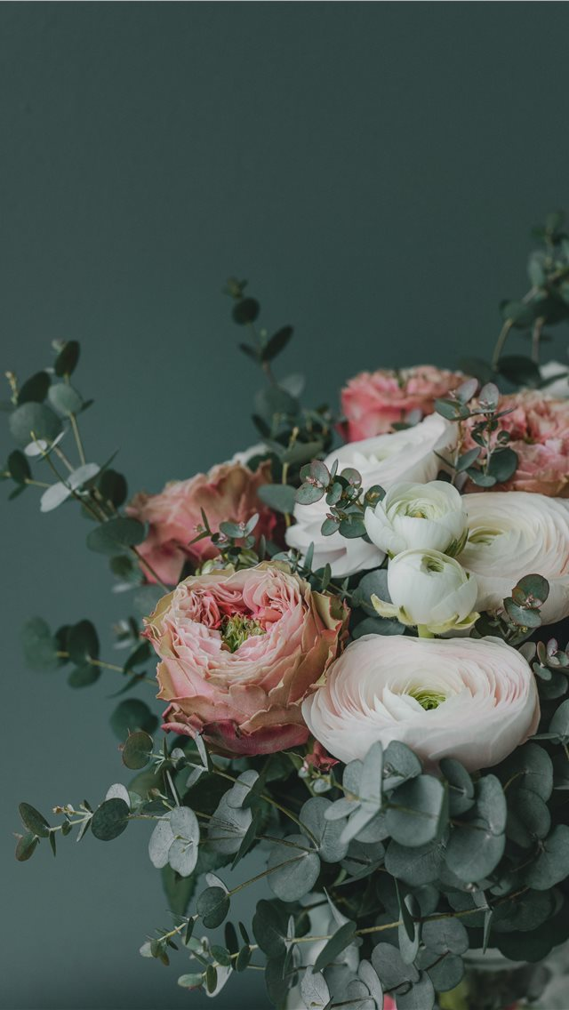 pink and white flower arrangement iPhone wallpaper