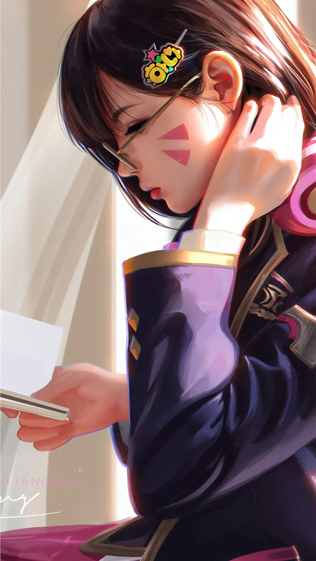 dva overwatch reading book iPhone wallpaper