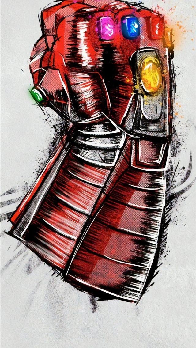 avengers endgame gauntlet sketch poster iPhone wallpaper