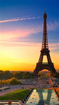 Sunset in Paris iPhone 5s wallpaper