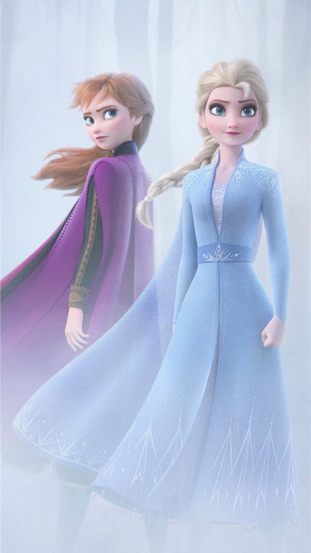 anna and elsa in frozen 2 4k iPhone wallpaper