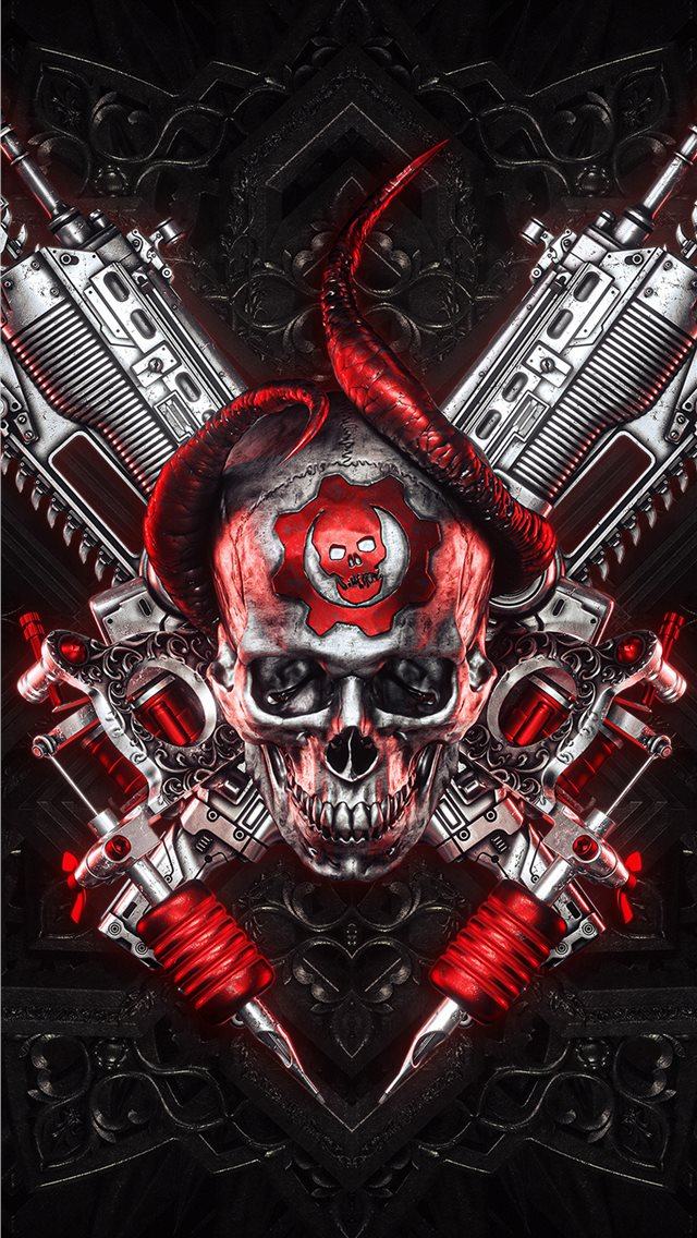 4k gears of war logo art iPhone wallpaper