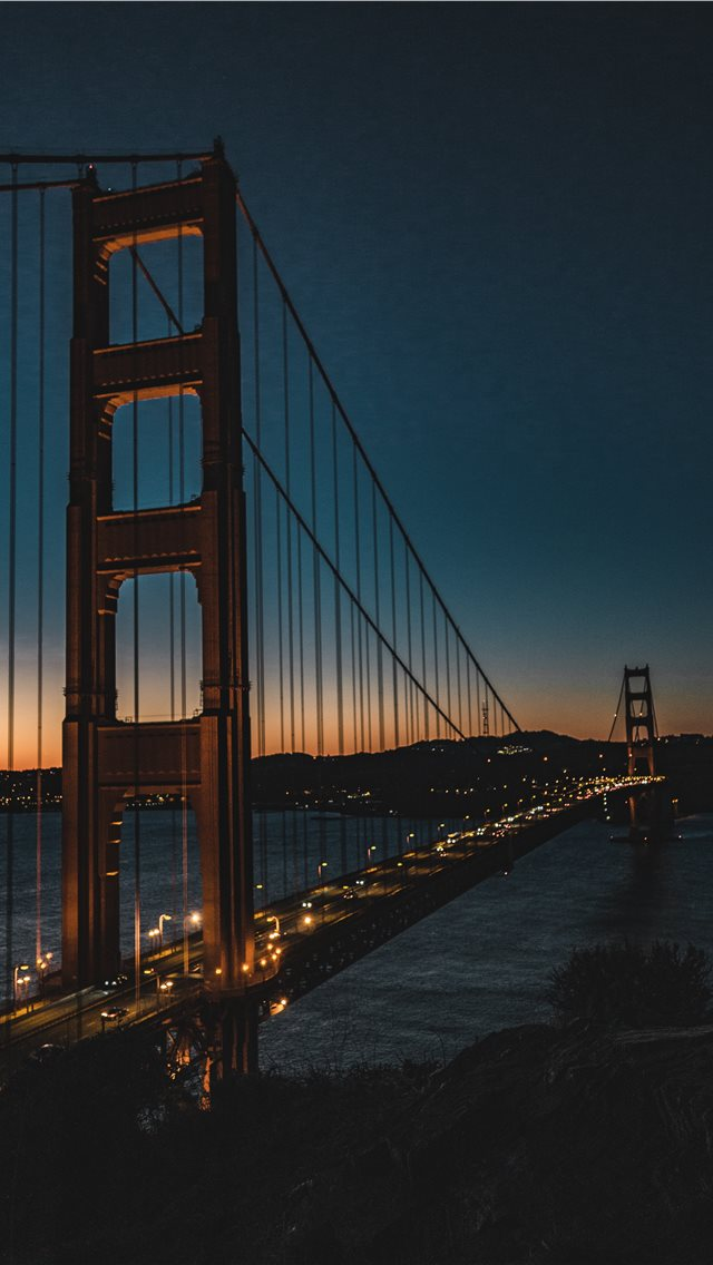 golden gate at night iPhone wallpaper