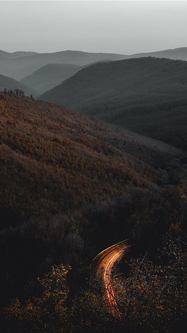 time lapse photography of road surrounded with tre... iPhone wallpaper