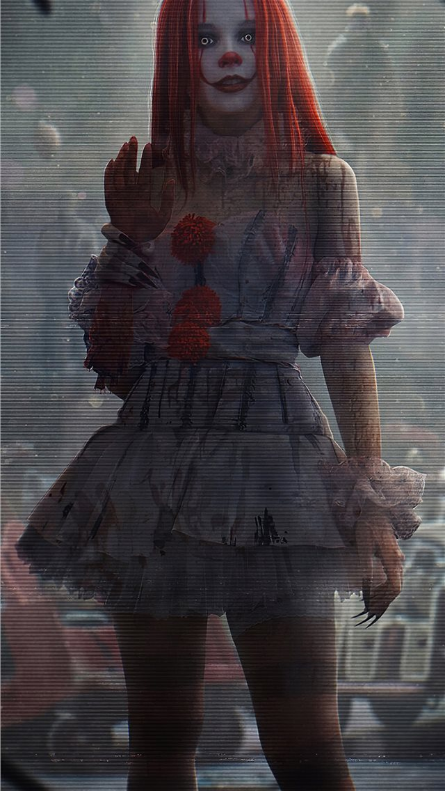 it clown girl 4k iPhone wallpaper