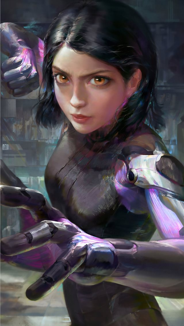alita battle angel 4k art iPhone wallpaper