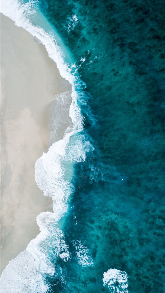 aerial photo of seashore iPhone wallpaper