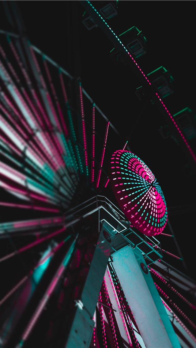 lighted ferris wheel iPhone wallpaper