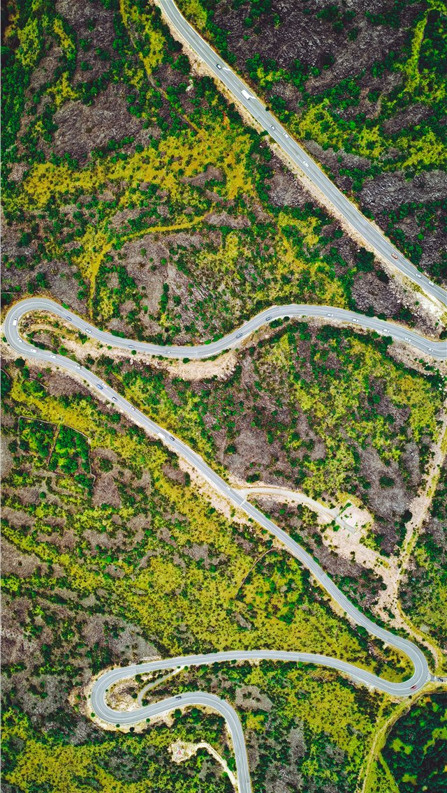 aerial photography of road iPhone wallpaper