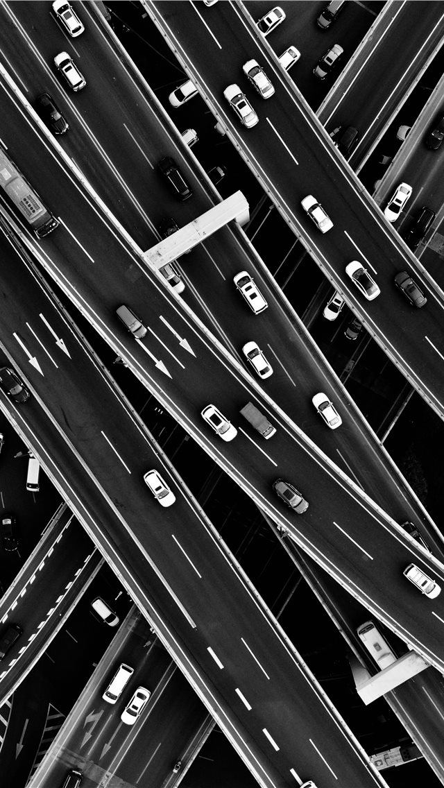 aerial grayscale photography of cars in the street... iPhone wallpaper