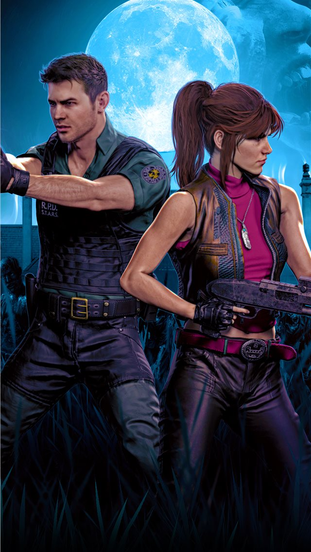 chrisredfield and claireredfield resident evil 4k iPhone wallpaper
