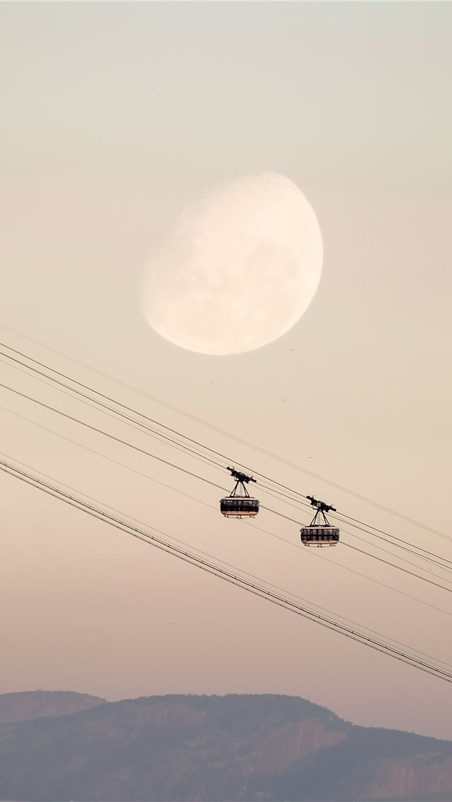 two black cable cars iPhone wallpaper