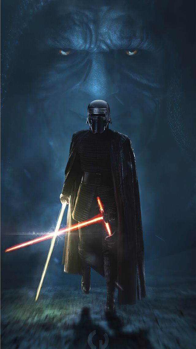 kylo ren golden lightsaber 4k iPhone wallpaper