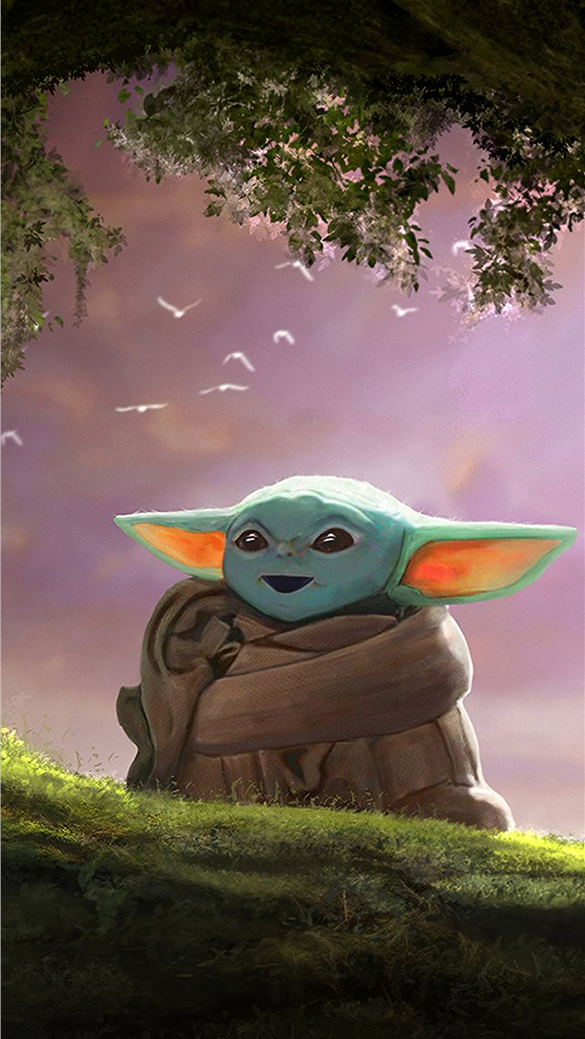 baby yoda fanart 4k iPhone wallpaper