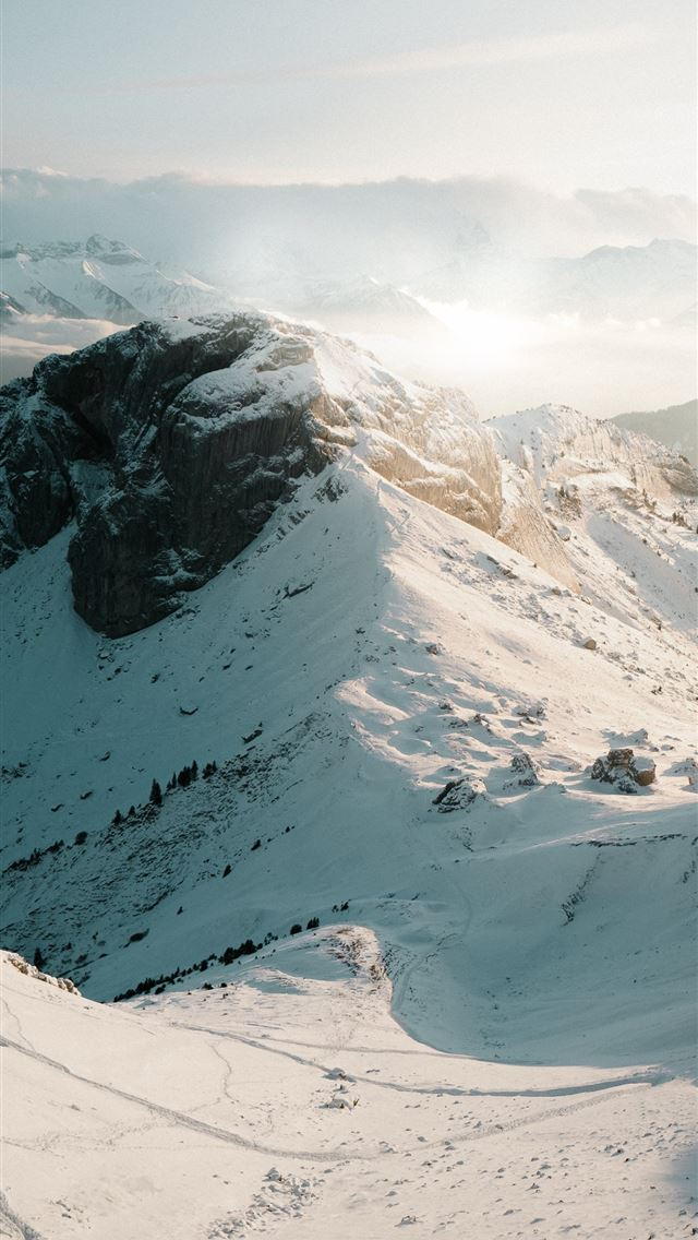 snow covered mountain during daytime iPhone wallpaper