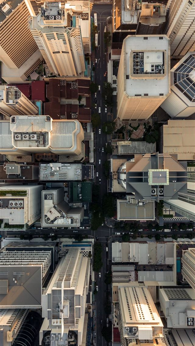 bird's eye view of buildings iPhone wallpaper