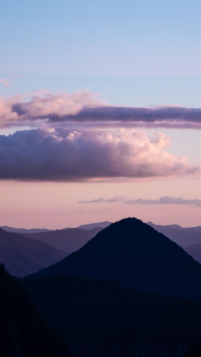 silhouette photography of mountain range iPhone wallpaper