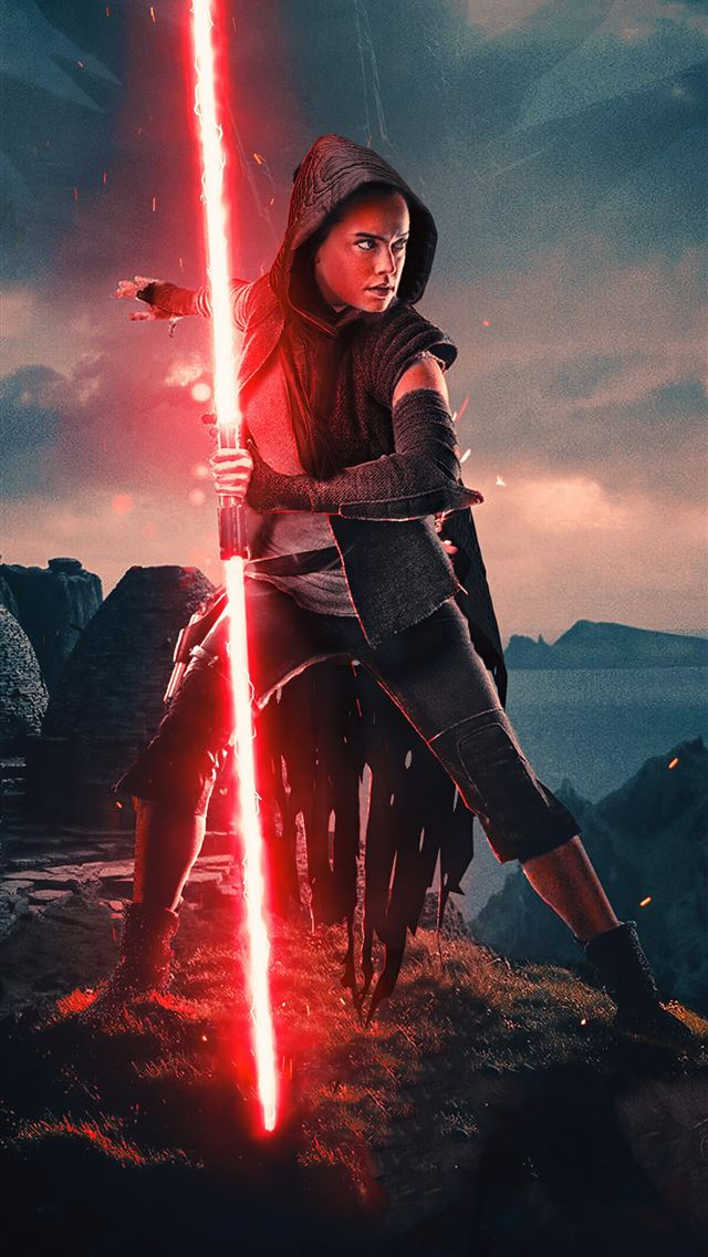 rey red light saber iPhone wallpaper