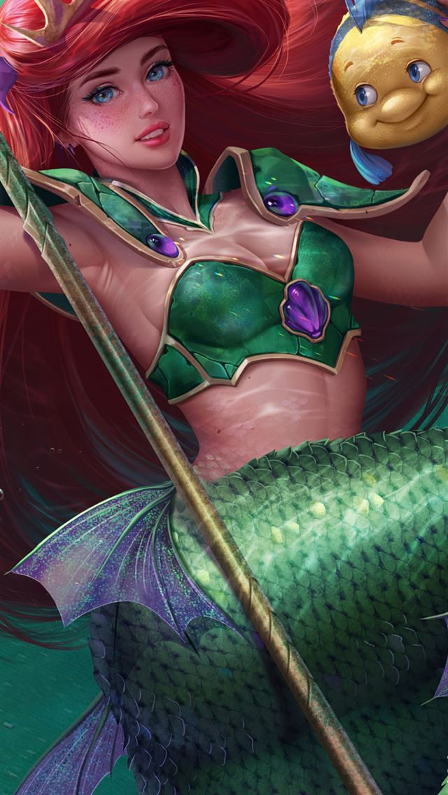 little mermaid fish 4k iPhone wallpaper
