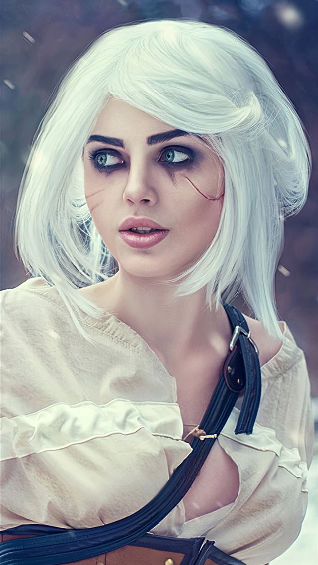 ciri the witcher 3 wild hunt cosplay 4k iPhone wallpaper