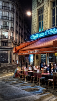 Paris street corner coffee iPhone 5s wallpaper
